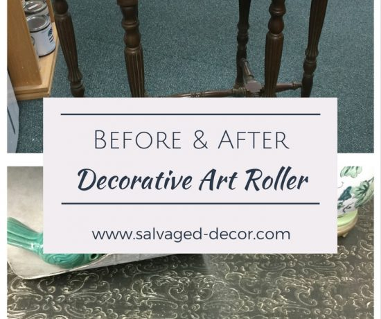 Repairing a damaged top with a textured finish using a decorative art roller and embossing medium by Salvaged Decor