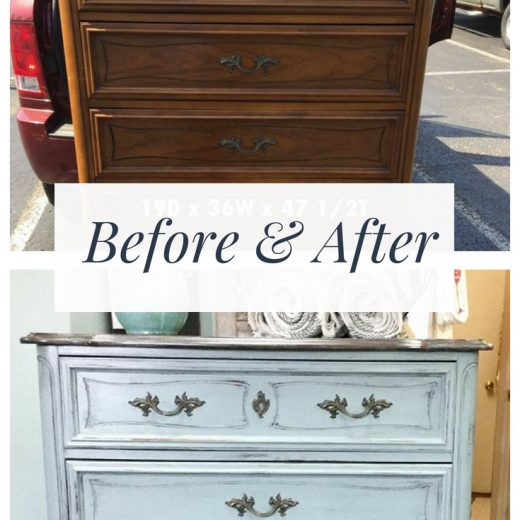Before & After of French Provincial dresser makeover using Skeleton Key DIY Paint from Debbie's Design Diary