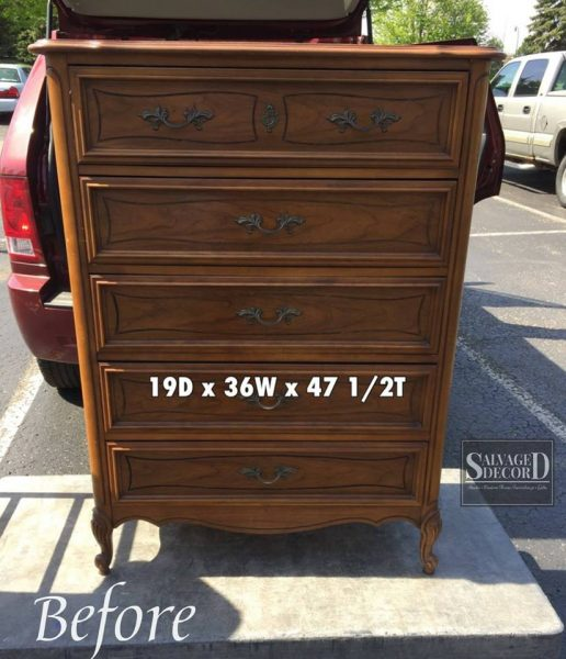 Before of French Provincial makeover using DIY Paint from Debbie's Design Diary