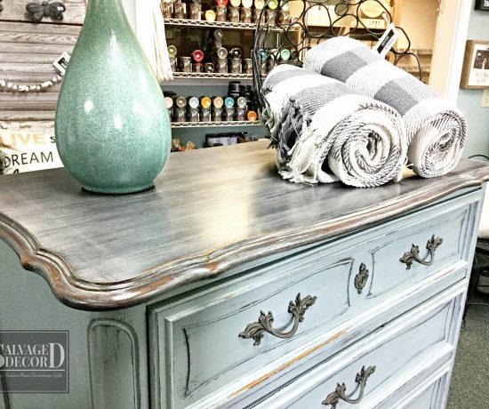 Weathered wood top using DIY paint
