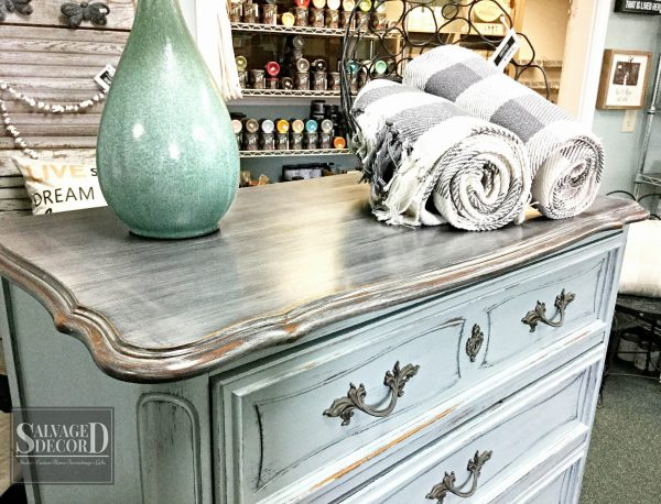 Faux weathered wood look using layers of Prairie Gray and Weathered Wood from DIY Paint by Debbie's Design Diary.