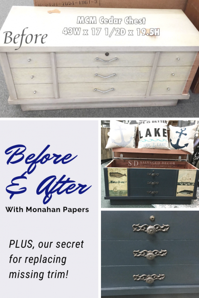 Before & After Cedar Chest Makeover Using Monahan Papers. PLUS! Learn our secret to repairing missing trim.