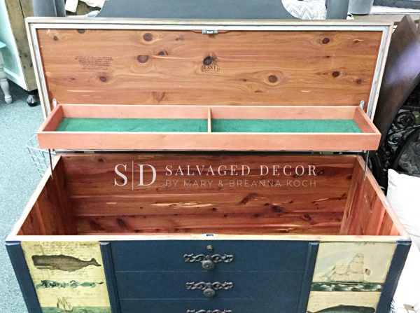 Before of our Cedar Chest Makeover using Monahan Papers. PLUS, learn our secret to replacing missing trim pieces.