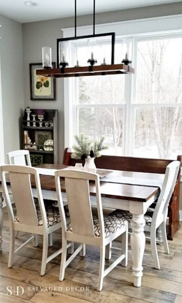 Before and After Dining Room Table with Farmhouse White from Miss Mustard Seed's Milk Paint