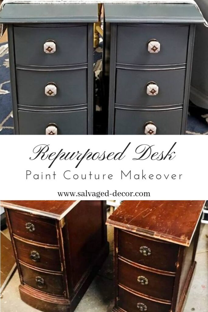 Before & After Repurposed Desk Nightstands with Paint Couture Shale Stone